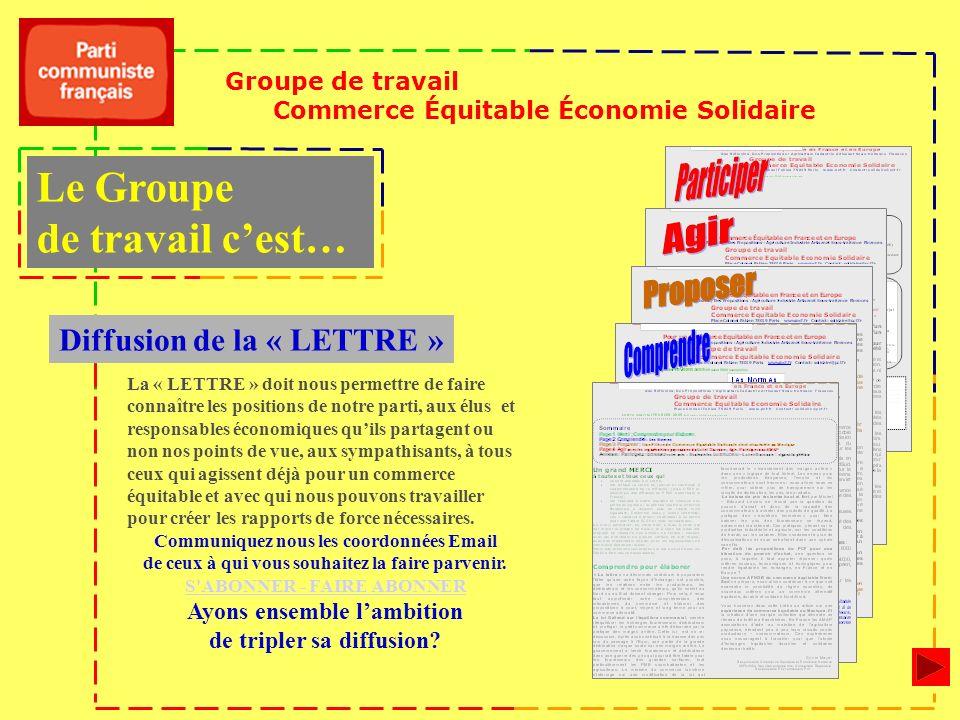 Groupe de travail Commerce Équitable Économie Solidaire Diffusion de la « LETTRE » La « LETTRE » doit nous permettre de faire connaître les positions