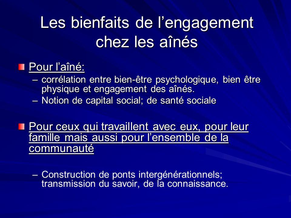 Les bienfaits de lengagement chez les aînés Pour laîné: –corrélation entre bien-être psychologique, bien être physique et engagement des aînés.