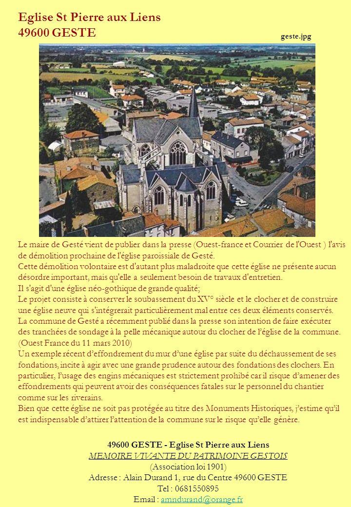 Eglise St Pierre aux Liens 49600 GESTE Le maire de Gesté vient de publier dans la presse (Ouest-france et Courrier de l'Ouest ) l'avis de démolition p