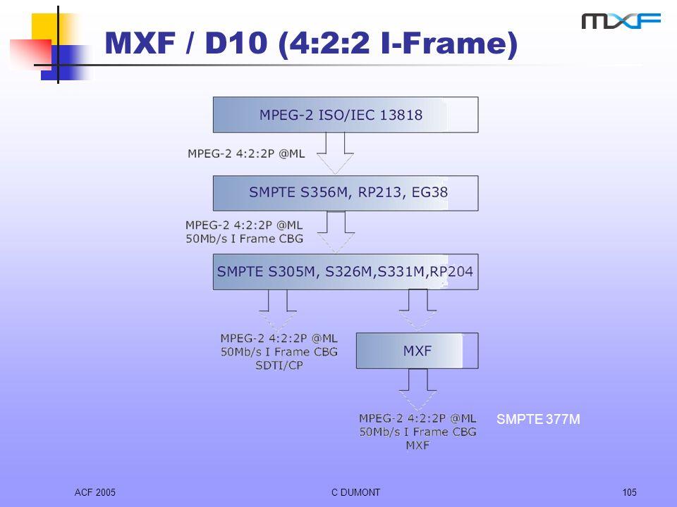 ACF 2005C DUMONT105 MXF / D10 (4:2:2 I-Frame) SMPTE 377M