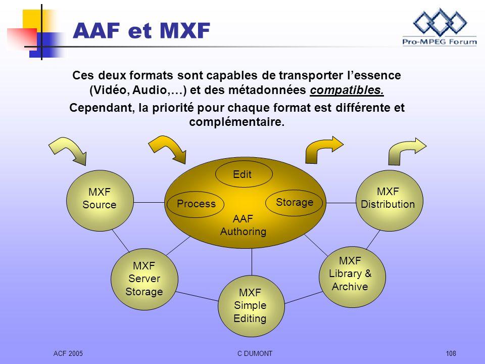 ACF 2005C DUMONT108 AAF et MXF Ces deux formats sont capables de transporter lessence (Vidéo, Audio,…) et des métadonnées compatibles. Cependant, la p