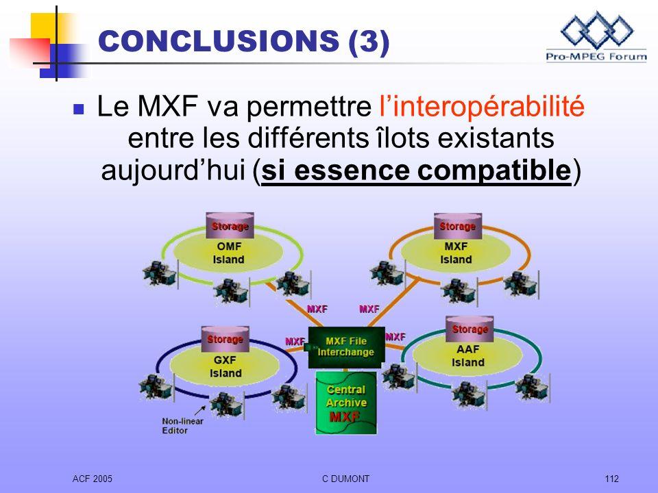ACF 2005C DUMONT112 Le MXF va permettre linteropérabilité entre les différents îlots existants aujourdhui (si essence compatible) CONCLUSIONS (3)