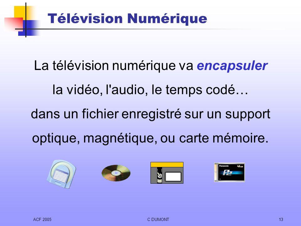 ACF 2005C DUMONT13 Télévision Numérique La télévision numérique va encapsuler la vidéo, l'audio, le temps codé… dans un fichier enregistré sur un supp