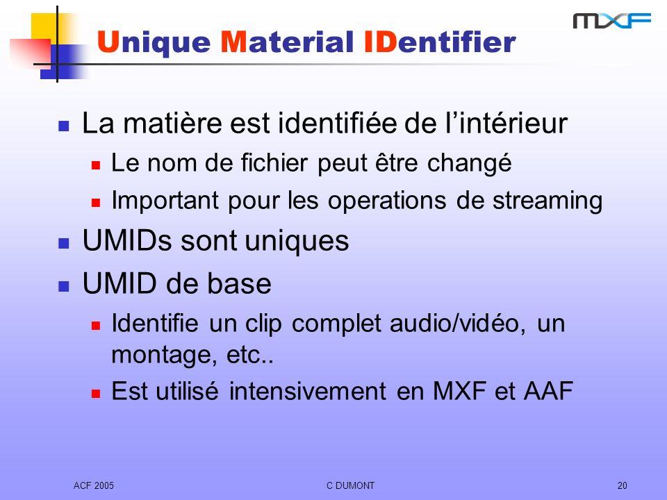 ACF 2005C DUMONT20 Unique Material IDentifier La matière est identifiée de lintérieur Le nom de fichier peut être changé Important pour les operations
