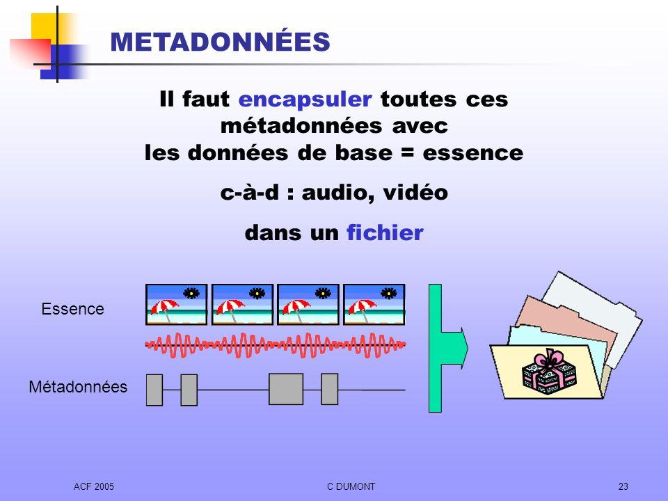ACF 2005C DUMONT23 Il faut encapsuler toutes ces métadonnées avec les données de base = essence c-à-d : audio, vidéo dans un fichier Essence Métadonné
