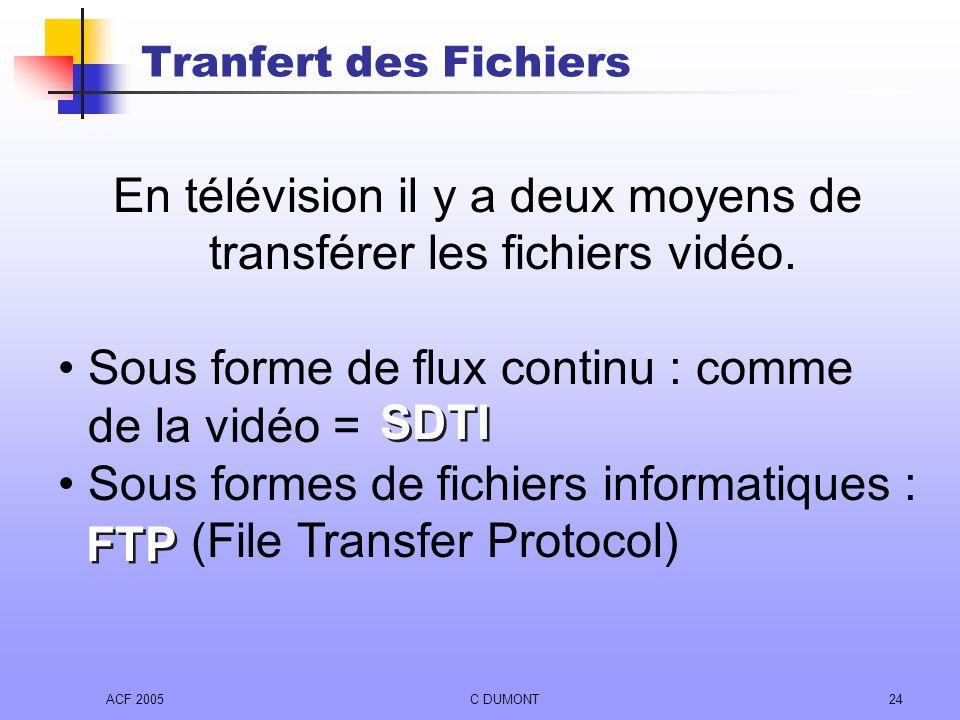 ACF 2005C DUMONT24 Tranfert des Fichiers En télévision il y a deux moyens de transférer les fichiers vidéo. Sous forme de flux continu : comme de la v