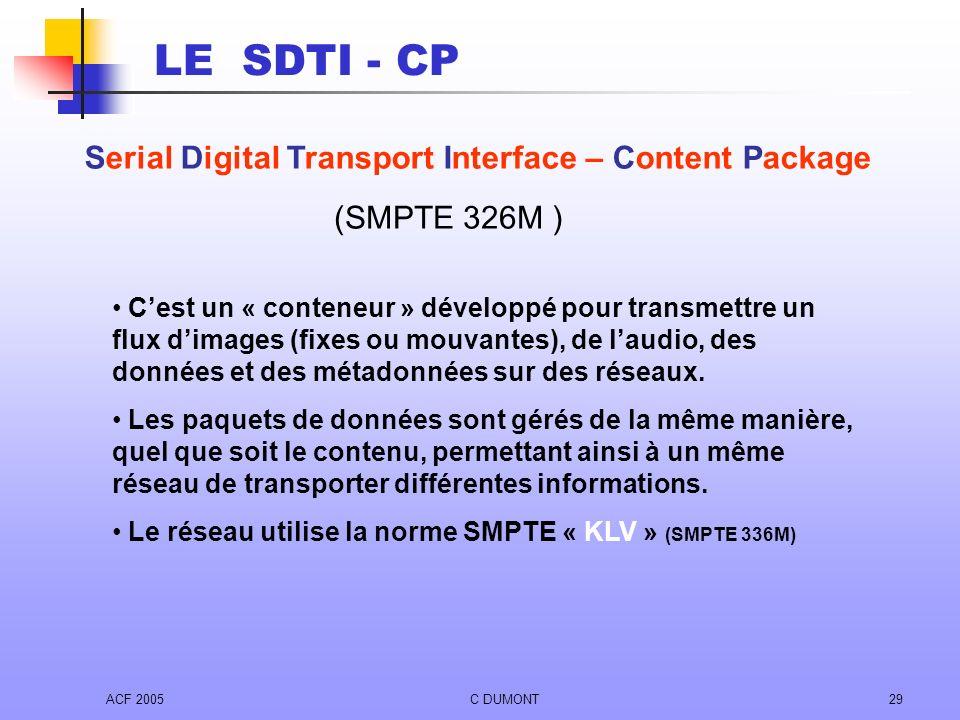 ACF 2005C DUMONT29 Cest un « conteneur » développé pour transmettre un flux dimages (fixes ou mouvantes), de laudio, des données et des métadonnées su