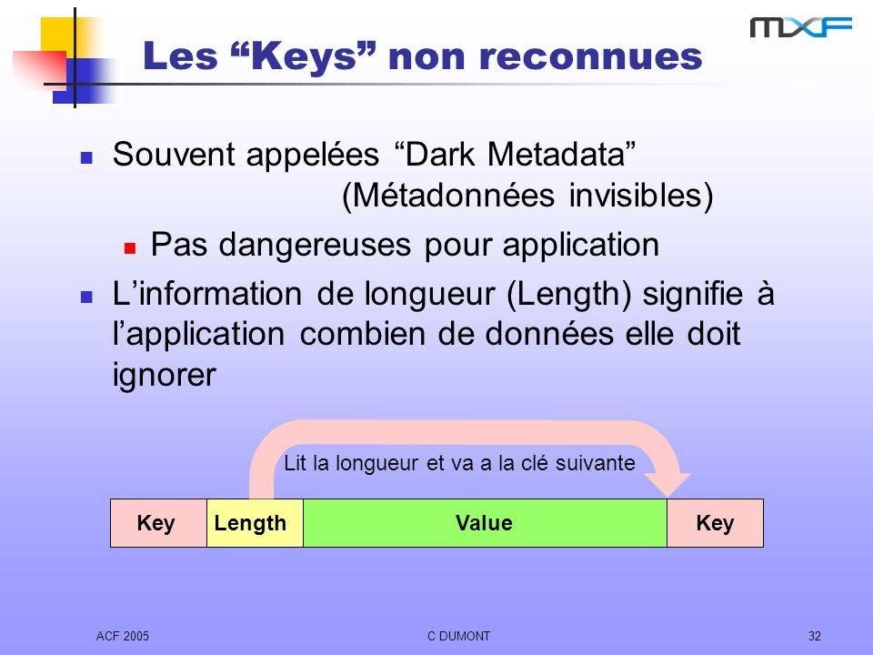 ACF 2005C DUMONT32 Les Keys non reconnues Souvent appelées Dark Metadata (Métadonnées invisibles) Pas dangereuses pour application Linformation de lon