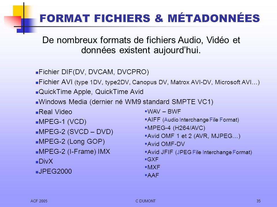 ACF 2005C DUMONT35 Fichier DIF(DV, DVCAM, DVCPRO) Fichier AVI (type 1DV, type2DV, Canopus DV, Matrox AVI-DV, Microsoft AVI…) QuickTime Apple, QuickTim
