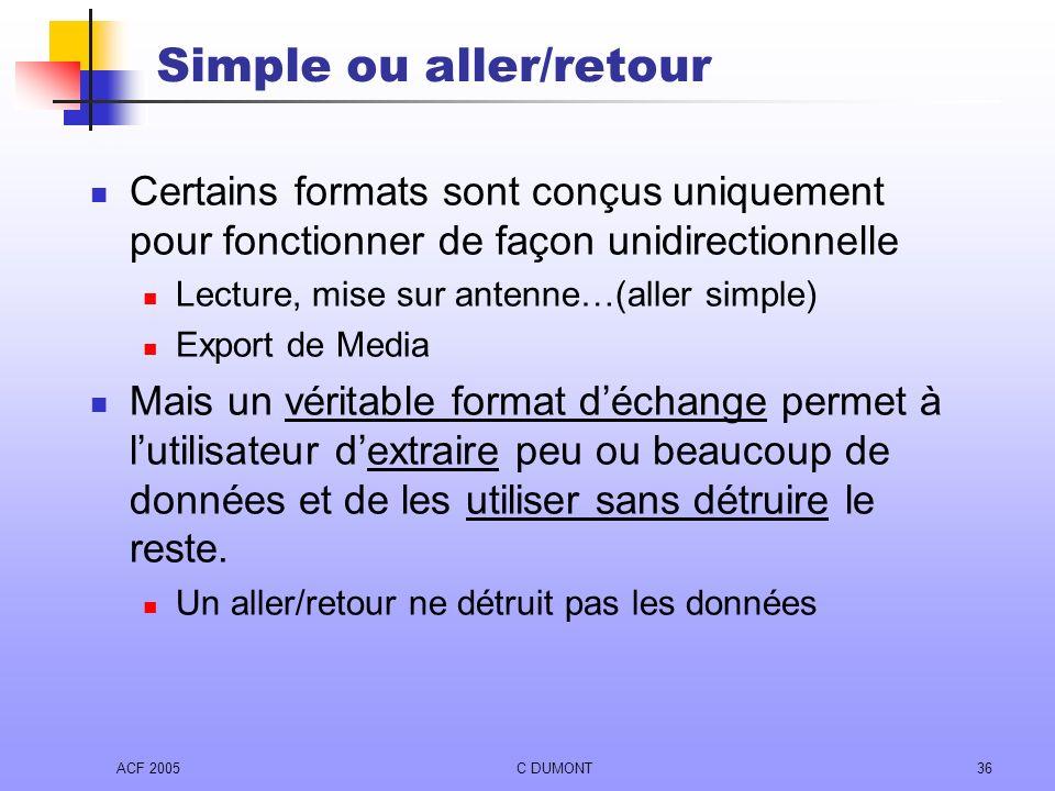 ACF 2005C DUMONT36 Simple ou aller/retour Certains formats sont conçus uniquement pour fonctionner de façon unidirectionnelle Lecture, mise sur antenn
