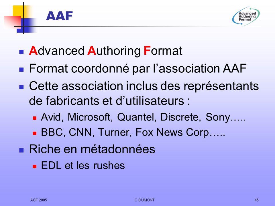ACF 2005C DUMONT45 AAF Advanced Authoring Format Format coordonné par lassociation AAF Cette association inclus des représentants de fabricants et dut