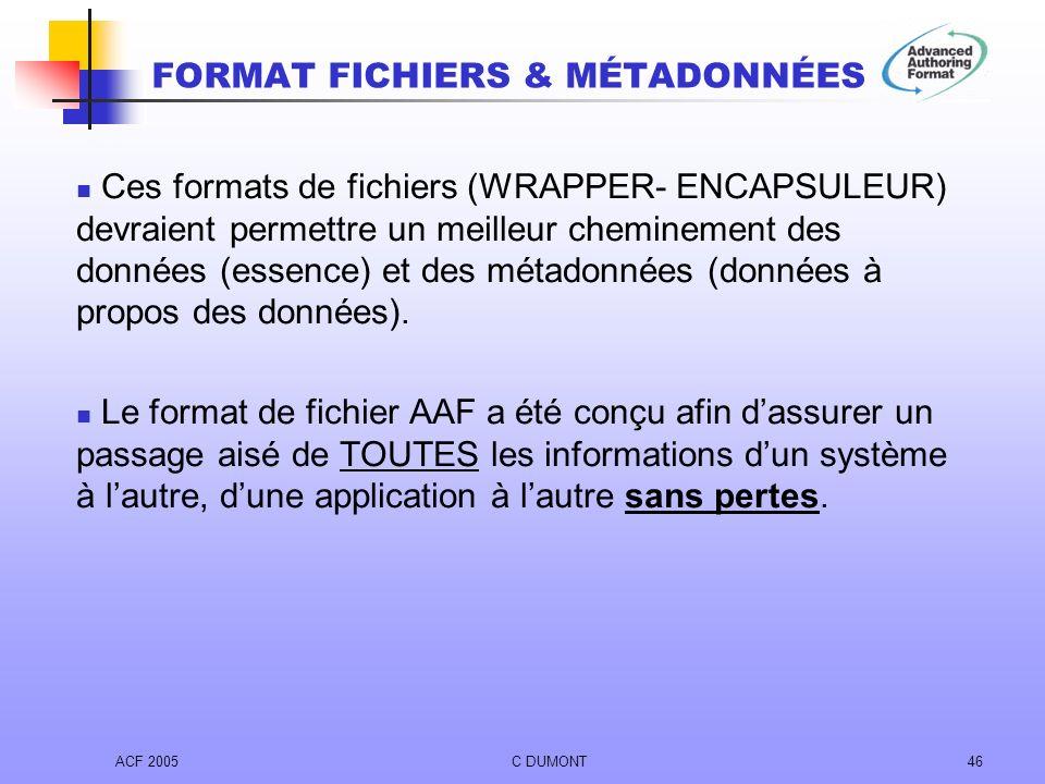 ACF 2005C DUMONT46 Ces formats de fichiers (WRAPPER- ENCAPSULEUR) devraient permettre un meilleur cheminement des données (essence) et des métadonnées