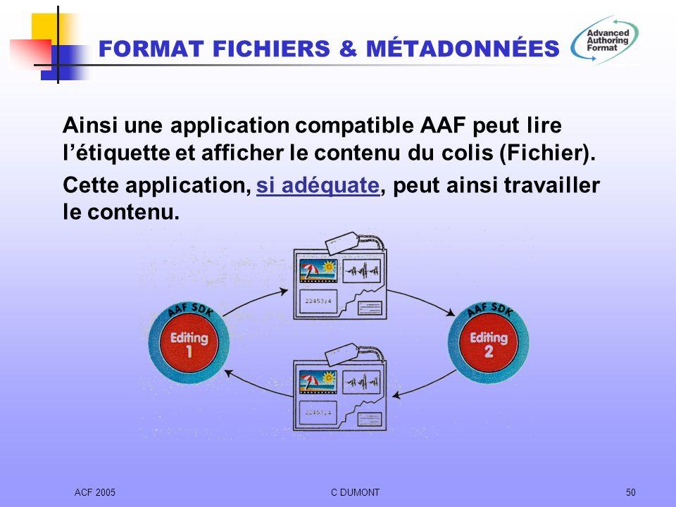 ACF 2005C DUMONT50 Ainsi une application compatible AAF peut lire létiquette et afficher le contenu du colis (Fichier). Cette application, si adéquate
