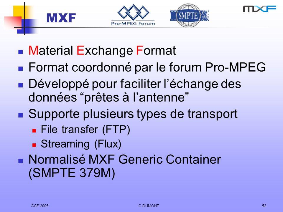 ACF 2005C DUMONT52 MXF Material Exchange Format Format coordonné par le forum Pro-MPEG Développé pour faciliter léchange des données prêtes à lantenne