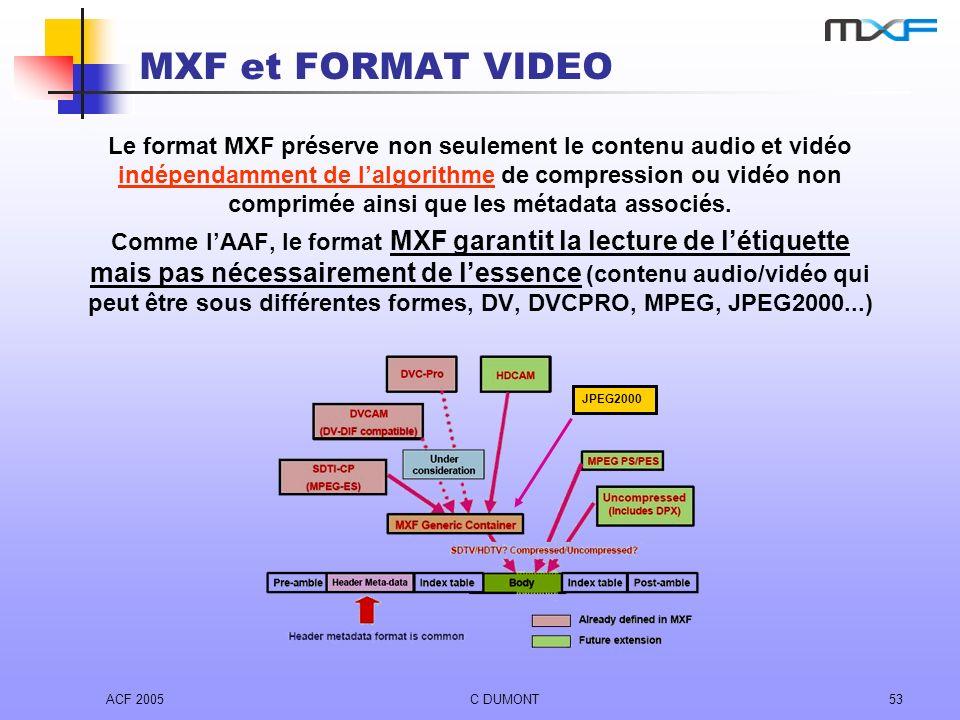 ACF 2005C DUMONT53 MXF et FORMAT VIDEO Le format MXF préserve non seulement le contenu audio et vidéo indépendamment de lalgorithme de compression ou