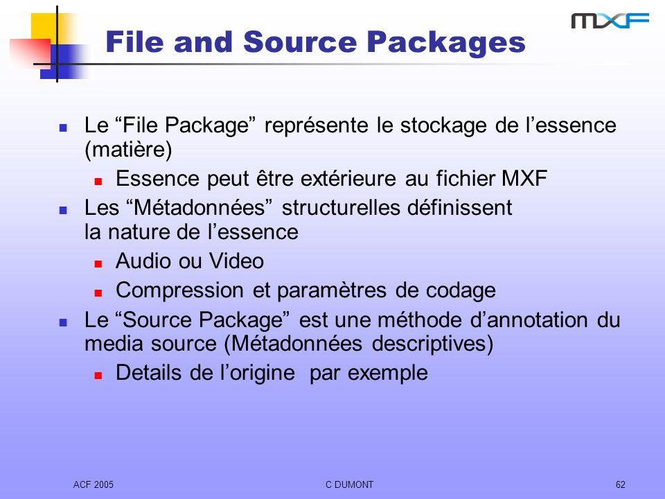 ACF 2005C DUMONT62 File and Source Packages Le File Package représente le stockage de lessence (matière) Essence peut être extérieure au fichier MXF L