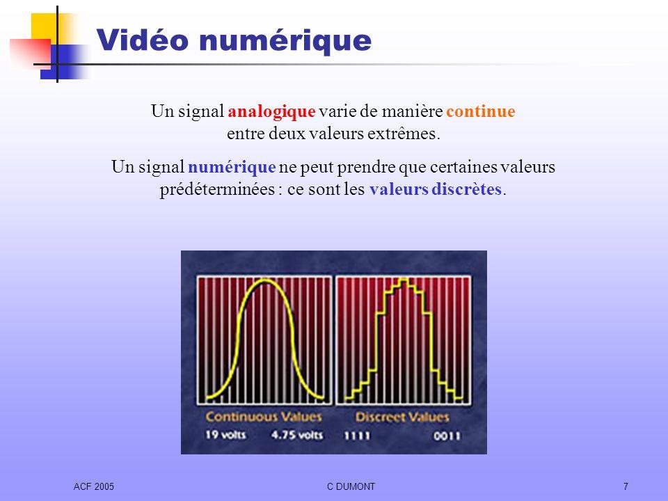 ACF 2005C DUMONT7 Vidéo numérique Un signal analogique varie de manière continue entre deux valeurs extrêmes. Un signal numérique ne peut prendre que