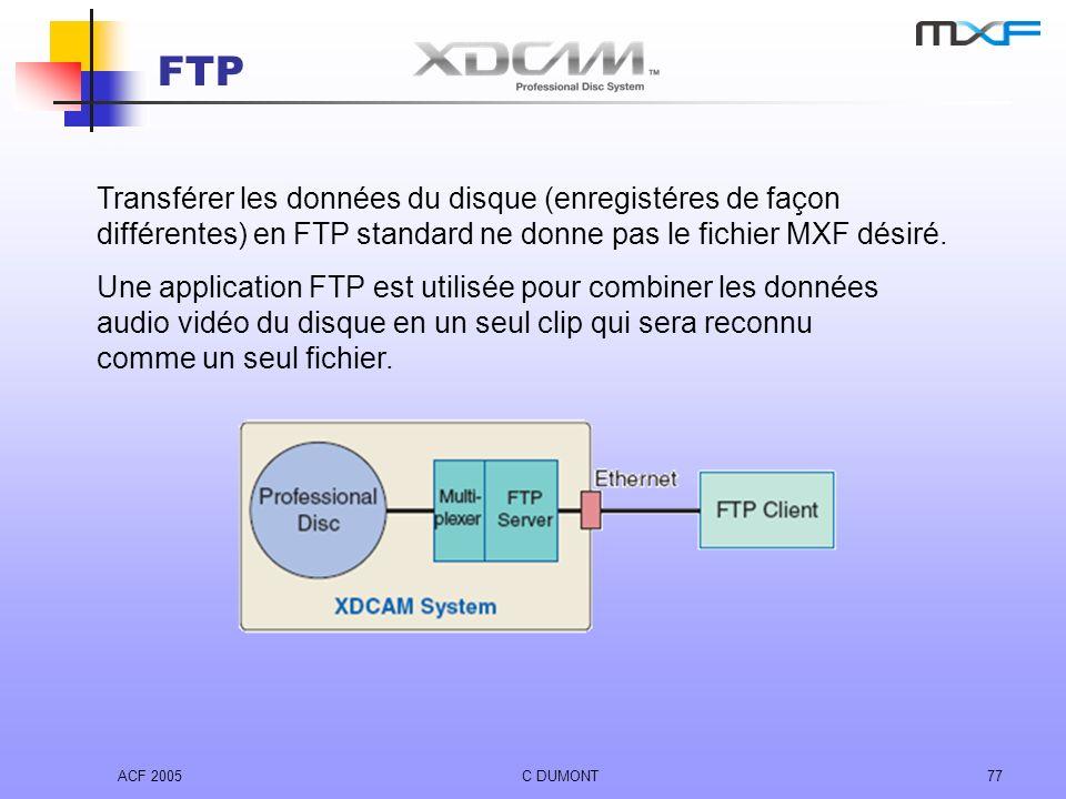 ACF 2005C DUMONT77 FTP Transférer les données du disque (enregistéres de façon différentes) en FTP standard ne donne pas le fichier MXF désiré. Une ap