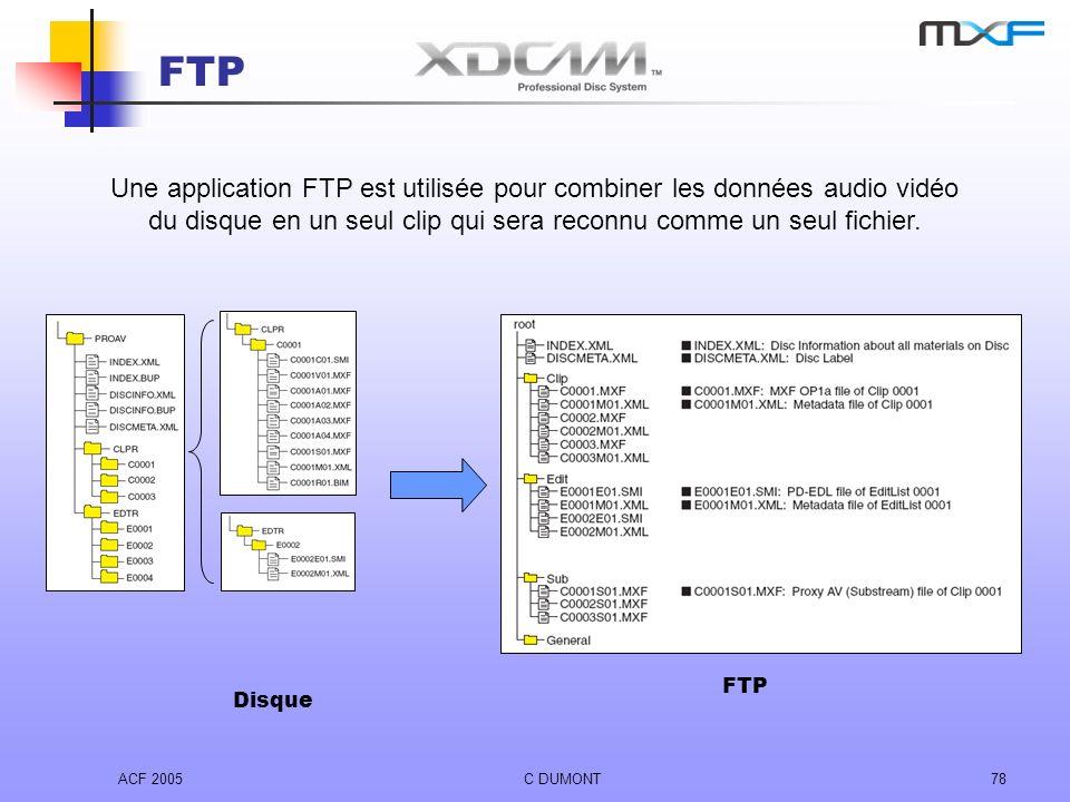 ACF 2005C DUMONT78 FTP Une application FTP est utilisée pour combiner les données audio vidéo du disque en un seul clip qui sera reconnu comme un seul