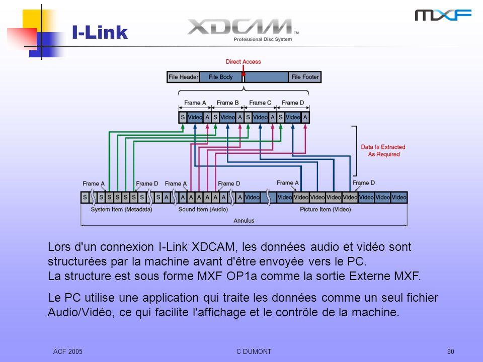 ACF 2005C DUMONT80 I-Link Lors d'un connexion I-Link XDCAM, les données audio et vidéo sont structurées par la machine avant d'être envoyée vers le PC