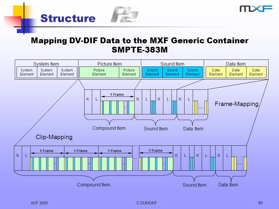 ACF 2005C DUMONT89 Structure Mapping DV-DIF Data to the MXF Generic Container SMPTE-383M Data Item Data Element Sound Item Sound Element System Item S