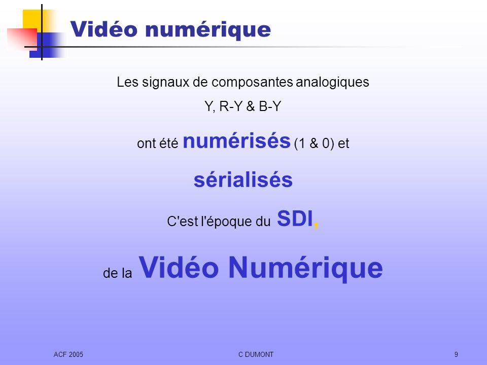 ACF 2005C DUMONT9 Les signaux de composantes analogiques Y, R-Y & B-Y ont été numérisés (1 & 0) et sérialisés C'est l'époque du SDI, de la Vidéo Numér