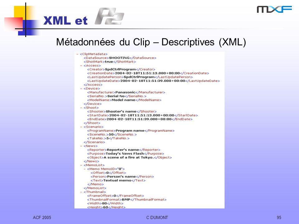 ACF 2005C DUMONT95 XML et Métadonnées du Clip – Descriptives (XML)