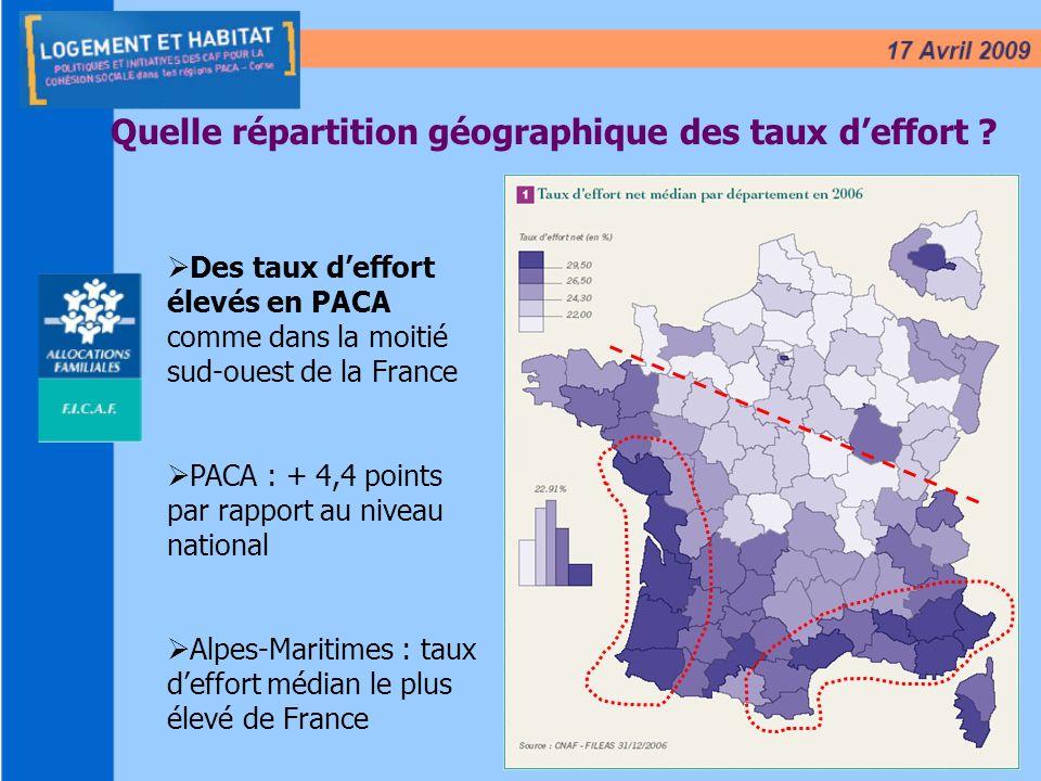 5 Quelle répartition géographique des taux deffort ? Des taux deffort élevés en PACA comme dans la moitié sud-ouest de la France PACA : + 4,4 points p