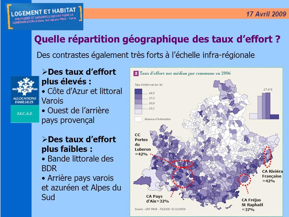 7 Quelle répartition géographique des taux deffort ? Des contrastes également très forts à léchelle infra-régionale Des taux deffort plus élevés : Côt