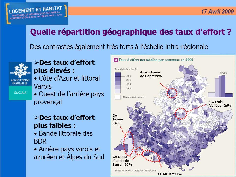8 Quelle répartition géographique des taux deffort ? Des contrastes également très forts à léchelle infra-régionale Des taux deffort plus élevés : Côt