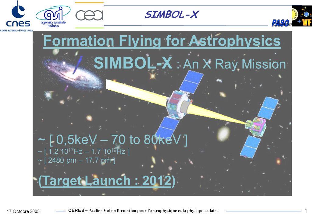 CERES – Atelier Vol en formation pour lastrophysique et la physique solaire 17 Octobre 2005 2 SIMBOL-X Baffle et collimateur pour rejeter le fond diffus X du ciel Protection pour les opérations sol, lancement et orbite basse Refroidissement détecteur Rejet du bruit de fond de linstrument