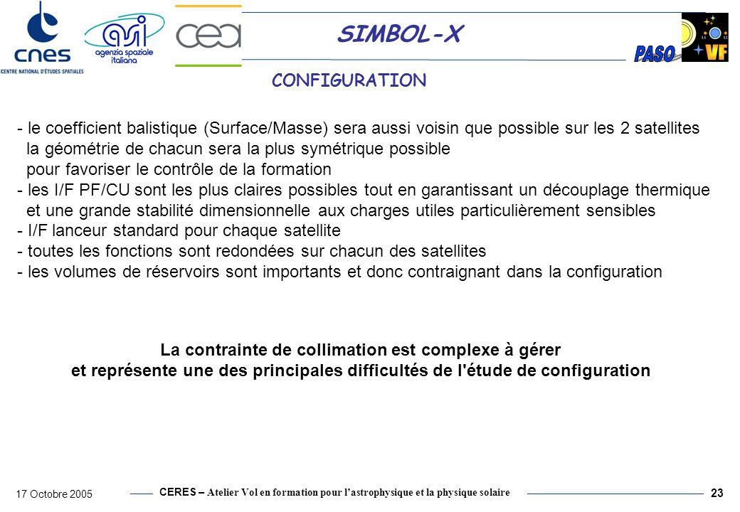 CERES – Atelier Vol en formation pour lastrophysique et la physique solaire 17 Octobre 2005 23 SIMBOL-X CONFIGURATION - le coefficient balistique (Sur