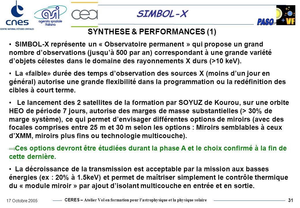 CERES – Atelier Vol en formation pour lastrophysique et la physique solaire 17 Octobre 2005 32 SIMBOL-X SYNTHESE & PERFORMANCES (2) La nécessité dinclure un collimateur pour la détection (perturbations induites par le rayonnement X du reste du ciel), a imposé des contraintes significatives sur le satellite détecteur (+ 1 écran sur le satellite miroir).