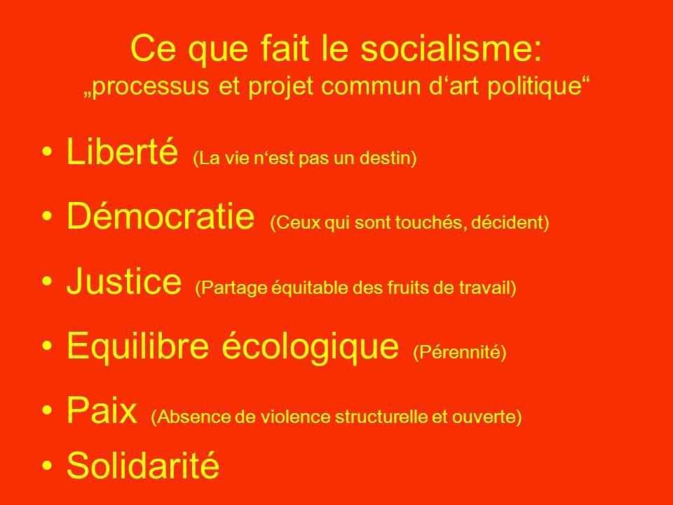 Ce que fait le socialisme: processus et projet commun dart politique Liberté (La vie nest pas un destin) Démocratie (Ceux qui sont touchés, décident) Justice (Partage équitable des fruits de travail) Equilibre écologique (Pérennité) Paix (Absence de violence structurelle et ouverte) Solidarité