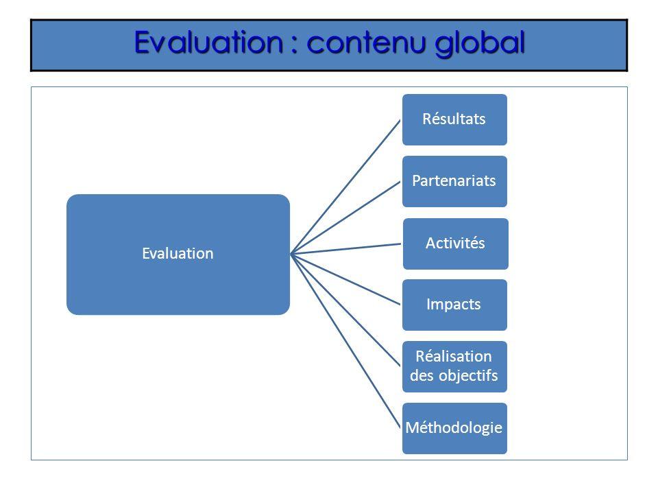 Evaluation : contenu global Evaluation RésultatsPartenariatsActivitésImpacts Réalisation des objectifs Méthodologie