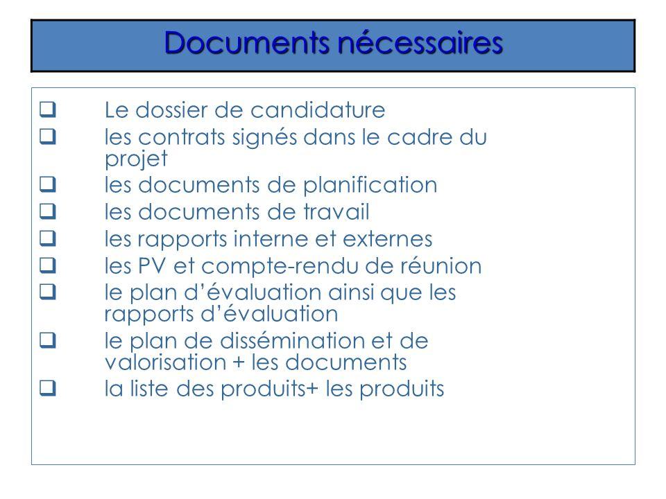 Le dossier de candidature les contrats signés dans le cadre du projet les documents de planification les documents de travail les rapports interne et externes les PV et compte-rendu de réunion le plan dévaluation ainsi que les rapports dévaluation le plan de dissémination et de valorisation + les documents la liste des produits+ les produits Documents nécessaires