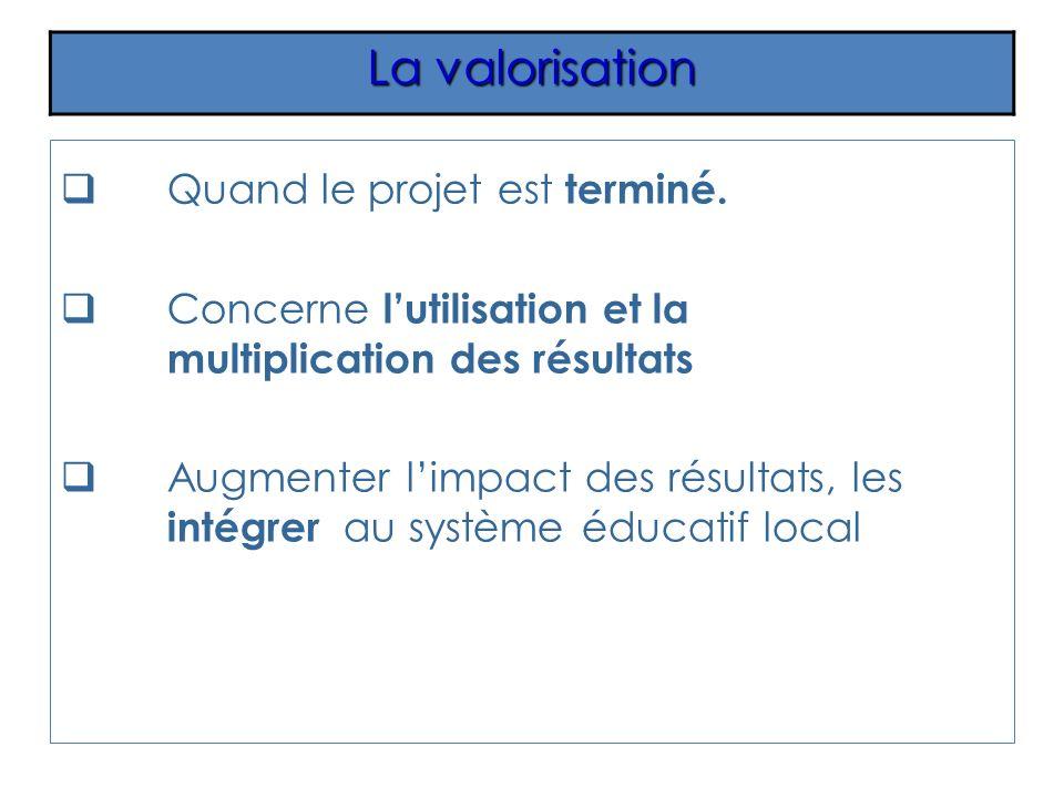 Quand le projet est terminé. Concerne lutilisation et la multiplication des résultats Augmenter limpact des résultats, les intégrer au système éducati