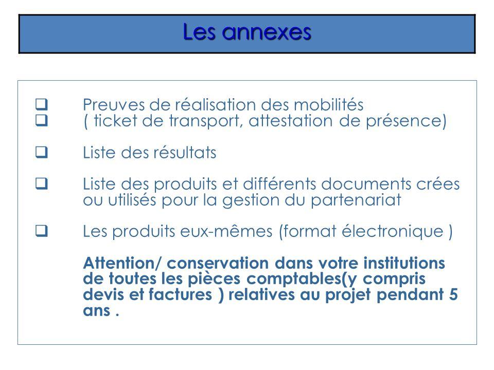 Les annexes Preuves de réalisation des mobilités ( ticket de transport, attestation de présence) Liste des résultats Liste des produits et différents