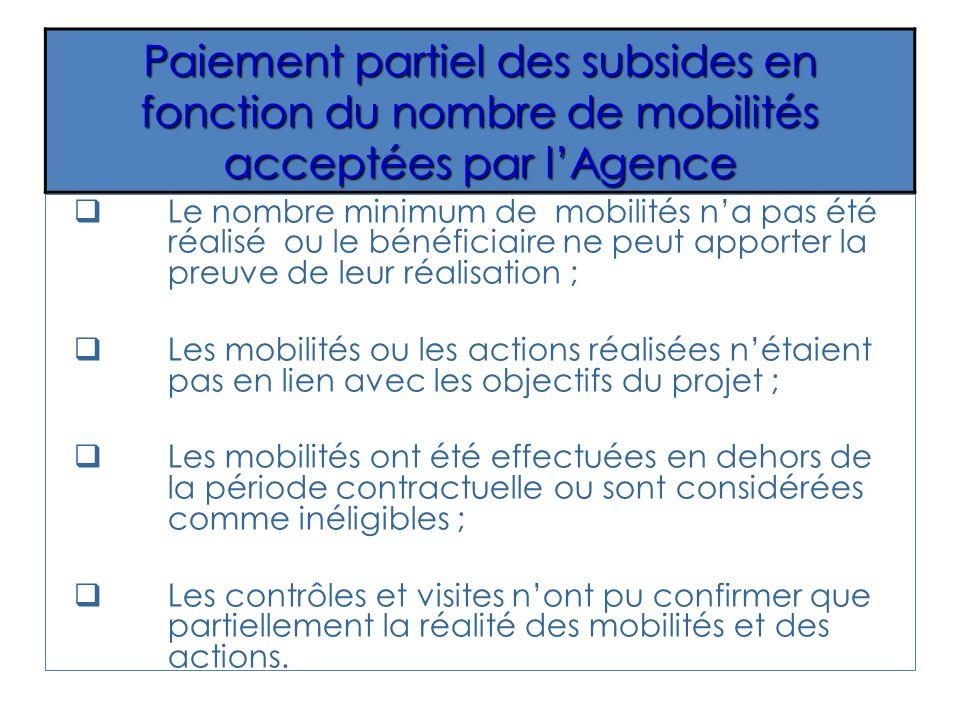 Le nombre minimum de mobilités na pas été réalisé ou le bénéficiaire ne peut apporter la preuve de leur réalisation ; Les mobilités ou les actions réa