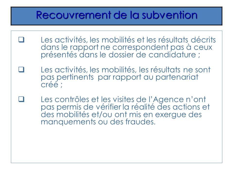Recouvrement de la subvention Les activités, les mobilités et les résultats décrits dans le rapport ne correspondent pas à ceux présentés dans le doss