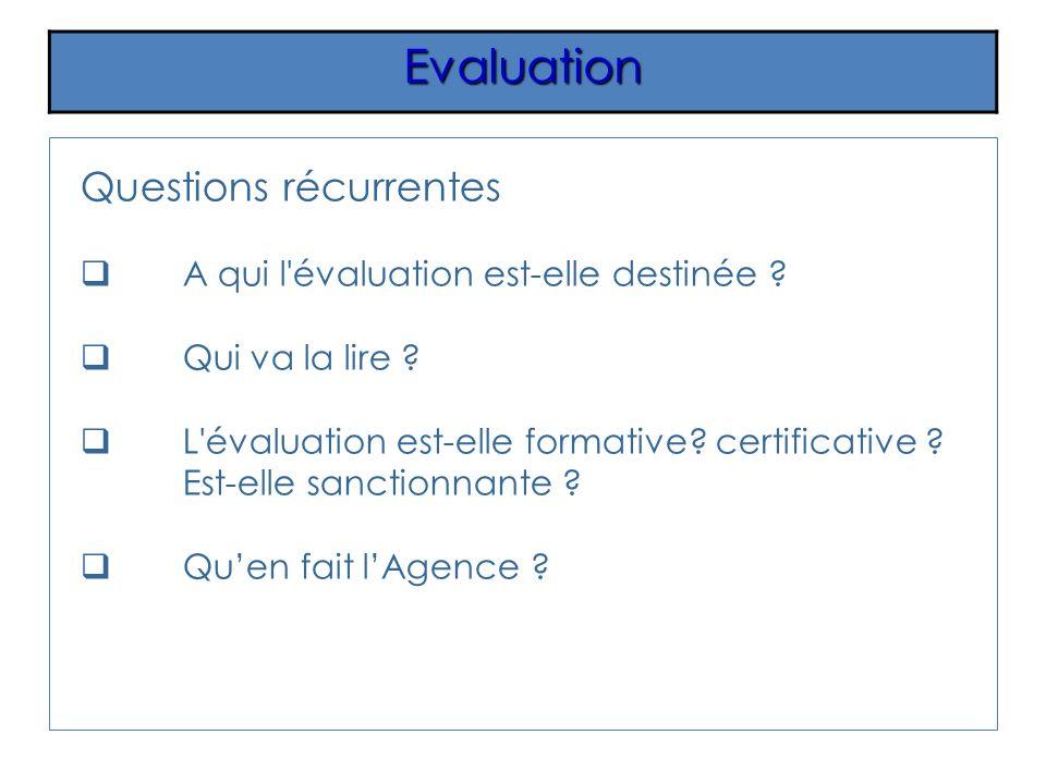 Questions récurrentes A qui l'évaluation est-elle destinée ? Qui va la lire ? L'évaluation est-elle formative? certificative ? Est-elle sanctionnante