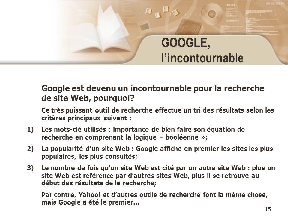 15 GOOGLE, lincontournable Google est devenu un incontournable pour la recherche de site Web, pourquoi.
