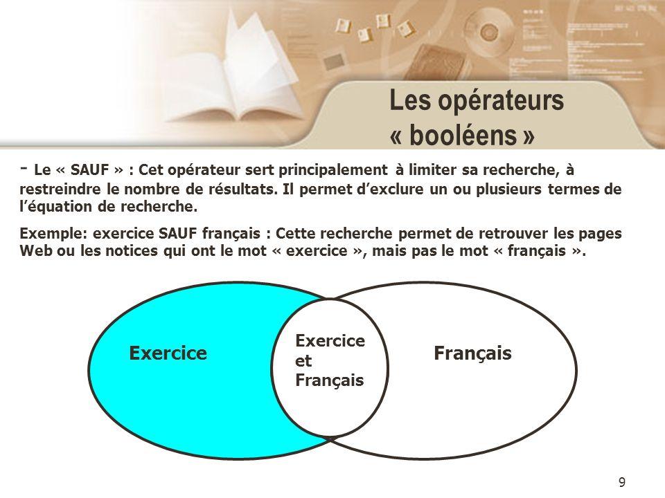 9 Les opérateurs « booléens » - Le « SAUF » : Cet opérateur sert principalement à limiter sa recherche, à restreindre le nombre de résultats.