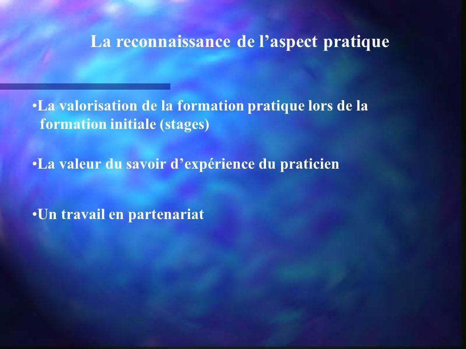 La reconnaissance de laspect pratique La valorisation de la formation pratique lors de la formation initiale (stages) La valeur du savoir dexpérience du praticien Un travail en partenariat