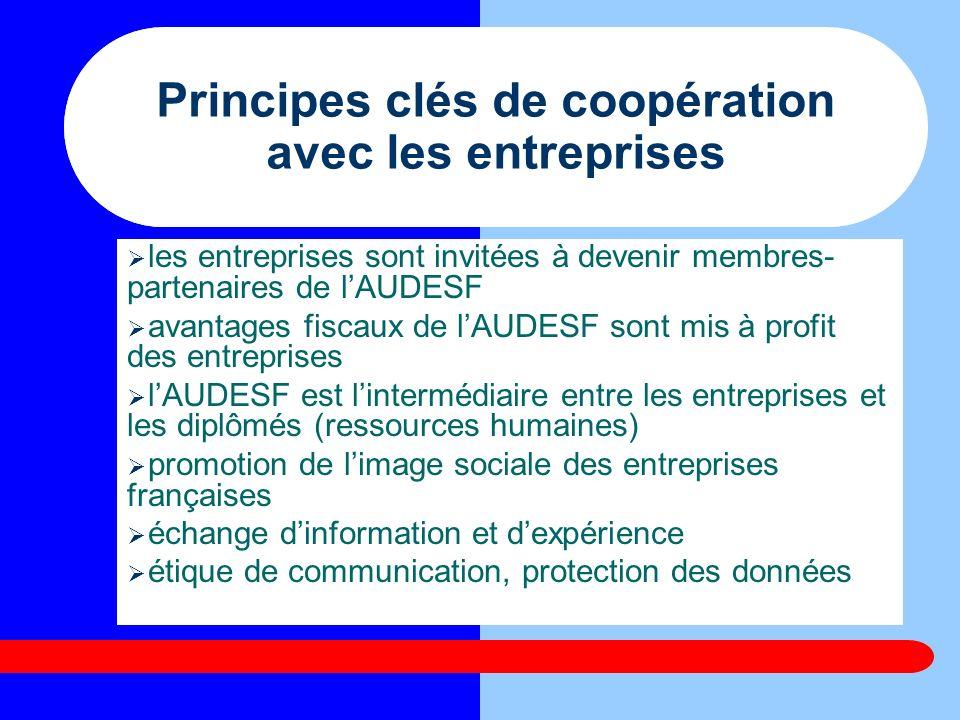 Principes clés de coopération avec les entreprises les entreprises sont invitées à devenir membres- partenaires de lAUDESF avantages fiscaux de lAUDES