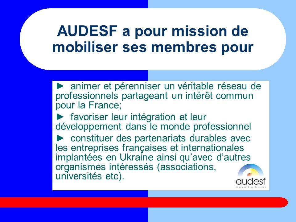 АUDESF a pour mission de mobiliser ses membres pour animer et pérenniser un véritable réseau de professionnels partageant un intérêt commun pour la Fr