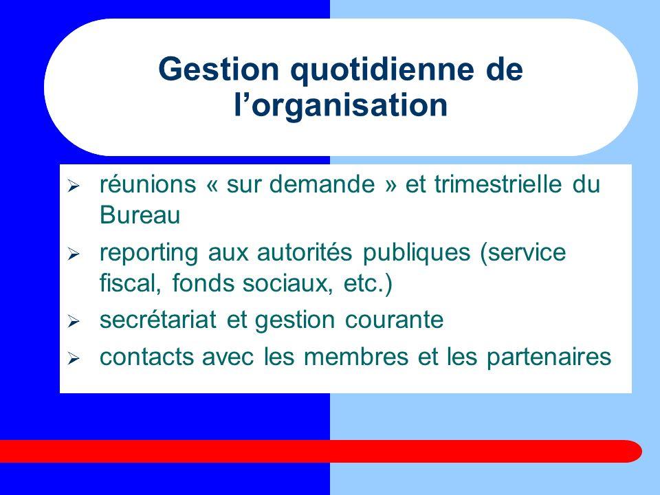 Gestion quotidienne de lorganisation réunions « sur demande » et trimestrielle du Bureau reporting aux autorités publiques (service fiscal, fonds soci