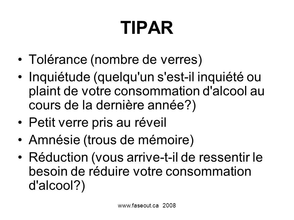 www.faseout.ca 2008 TIPAR Tolérance (nombre de verres) Inquiétude (quelqu'un s'est-il inquiété ou plaint de votre consommation d'alcool au cours de la