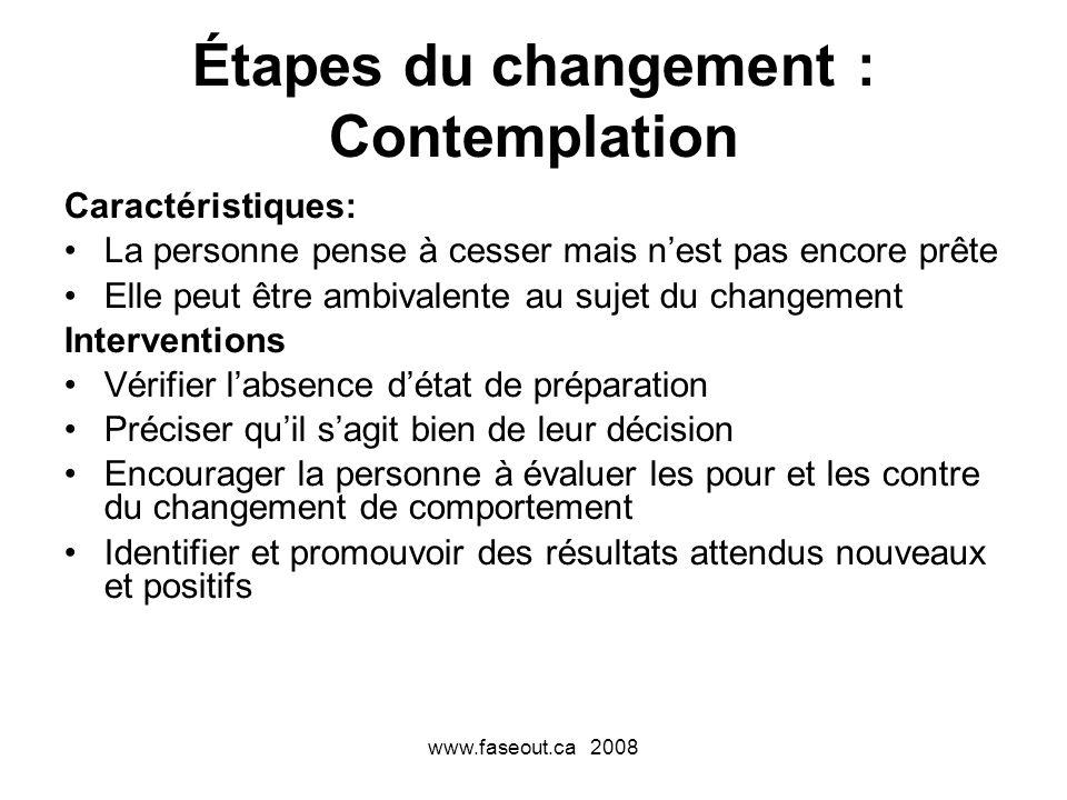 www.faseout.ca 2008 Étapes du changement : Contemplation Caractéristiques: La personne pense à cesser mais nest pas encore prête Elle peut être ambiva
