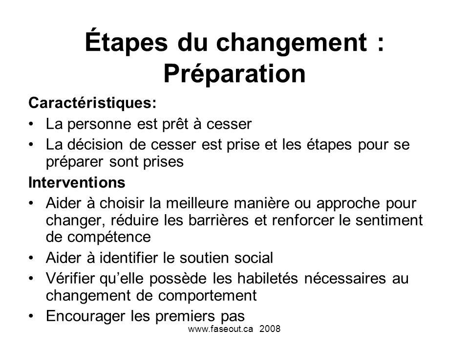www.faseout.ca 2008 Étapes du changement : Préparation Caractéristiques: La personne est prêt à cesser La décision de cesser est prise et les étapes p